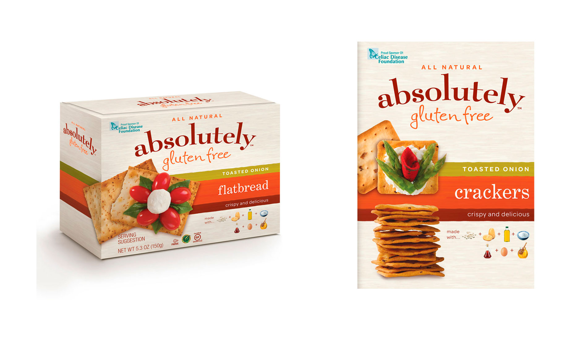 ABSOLUTELY gluten free crackers packaging photography