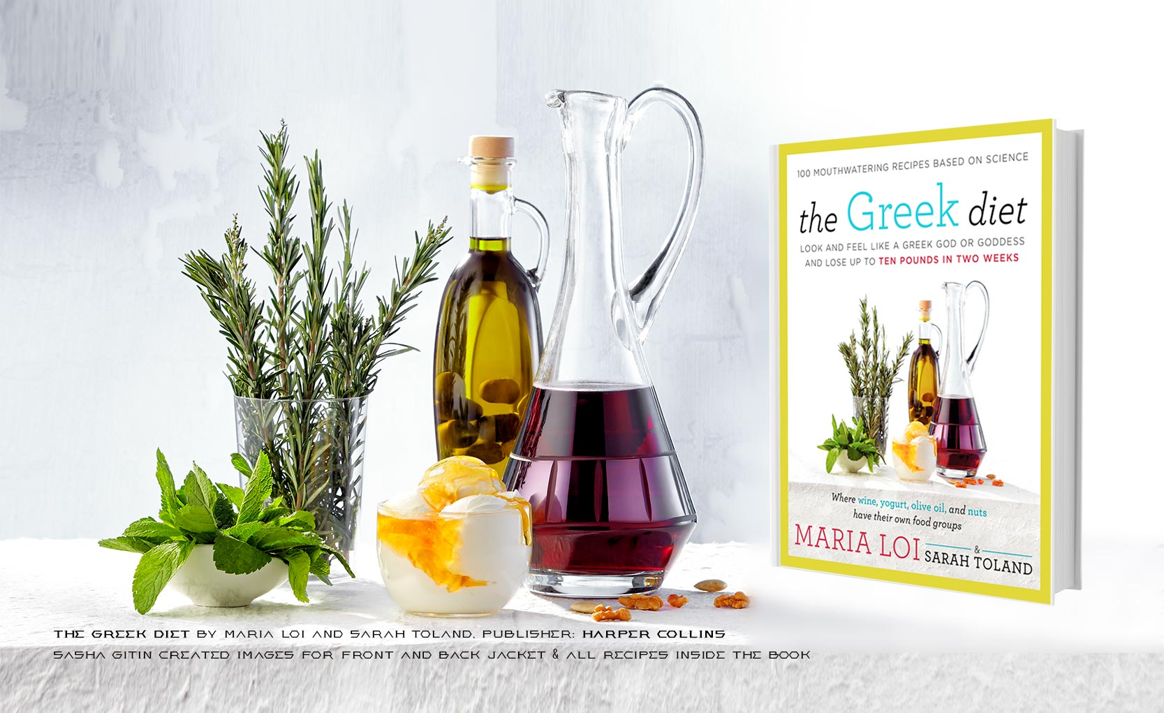 Over 60 recipe images photographed for Greek Diet cookbook published by Harper Collins